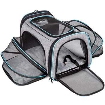 Cat Carrier Airline Approved Pet Carrier,Expandable Soft Sided Dog Travel Carrier Bag with Removable Fleece Pad and Pockets