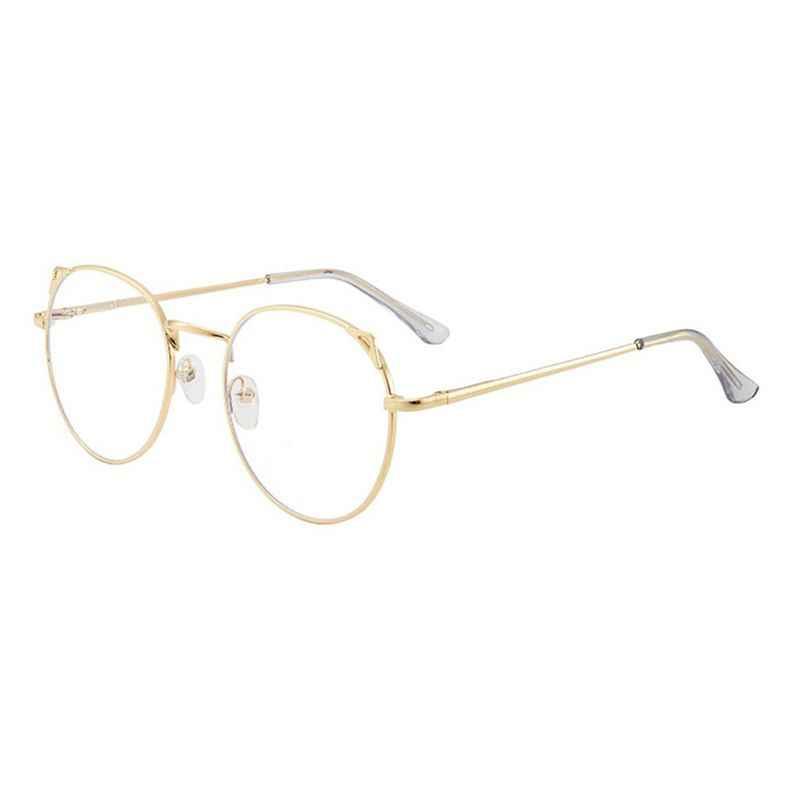 Anti Luz Azul Rodada Bonito Orelhas de Gato Óculos de Armação de Computador Proteção Para Os Olhos Óculos Ópticos Unisex