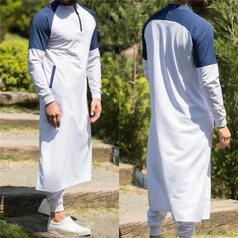 Kaftan Men Muslim Thobe Islamic Arabic Clothing Long Sleeve Shirt Tops Robe Saudi Arabia Traditional Costumes Men Muslim Tops