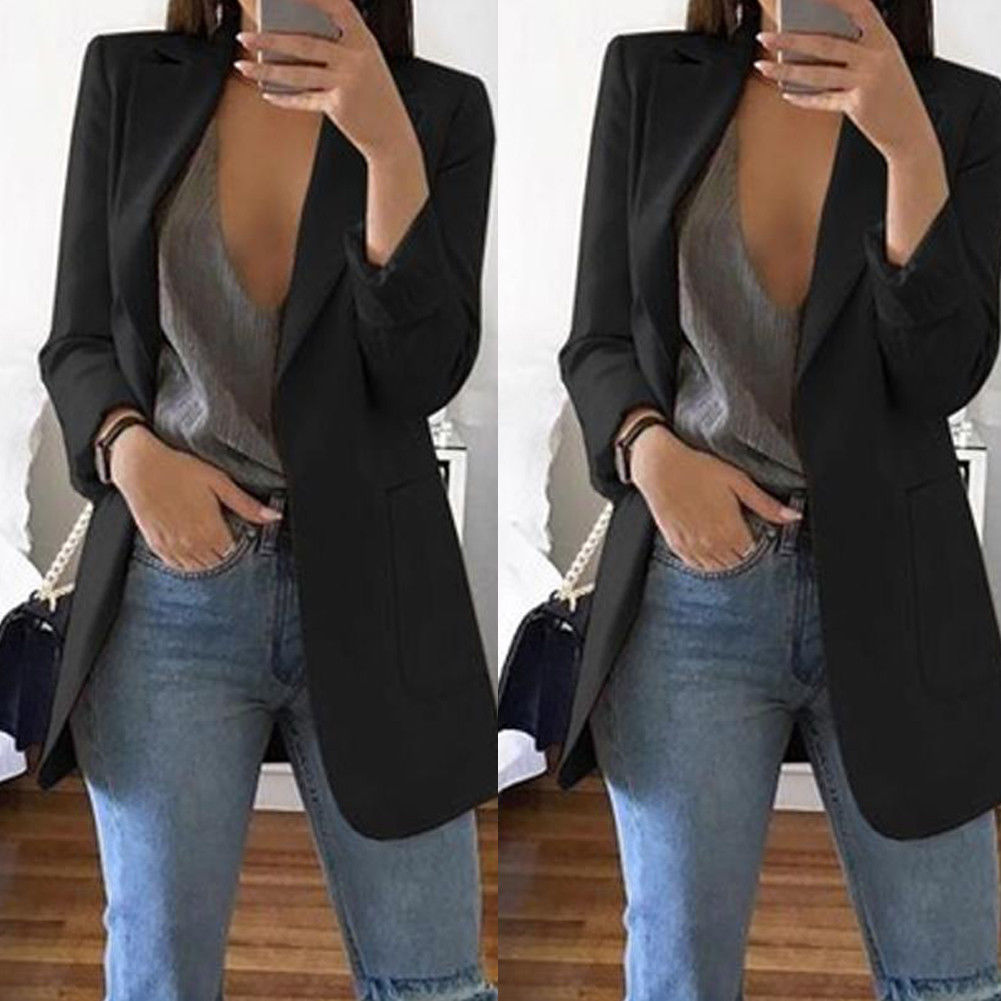 Autumn Winter Black Jackets Female Solid Slim Suit Women Blazers Office Ladies Business Suit Pocket Coat Gray Khaki