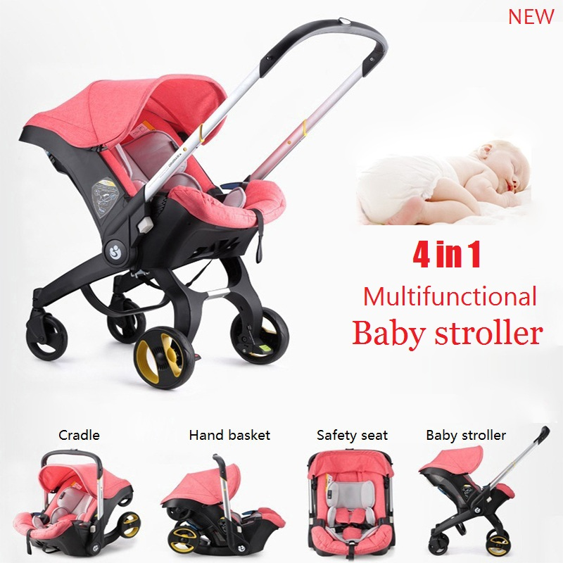 Baby Stroller  Safety seat  Cradle  4-in-1 Multifunction Stroller  Foldable and Portable Baby stroller