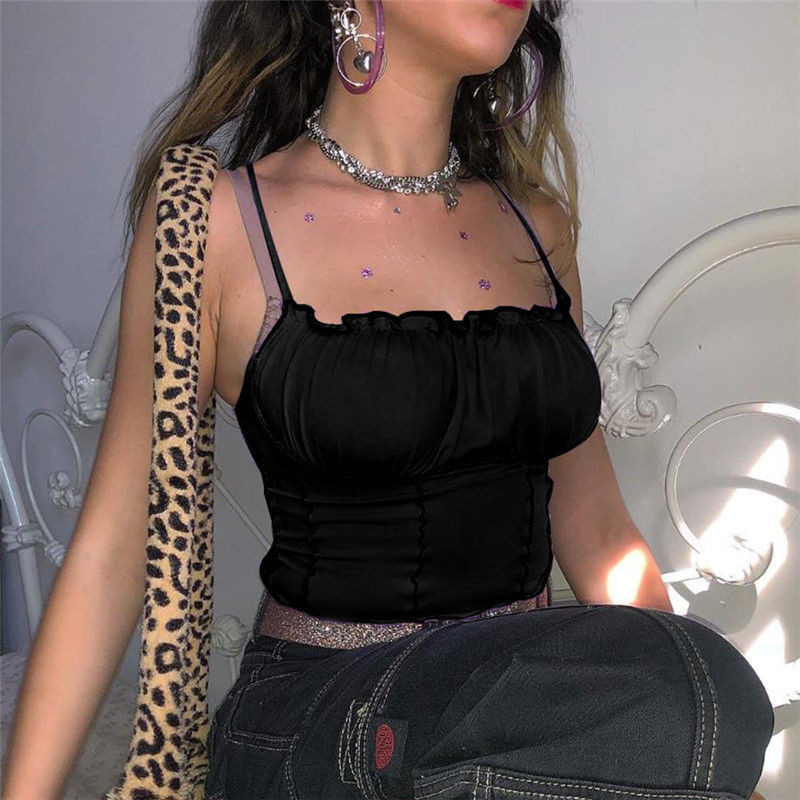 Sexy 2019 Summer Women Ruffles Tank Top Fashion Ladies Sleeveless Strapless Ruched Slim Crop Top Camisole Female Clothing Tanks 5