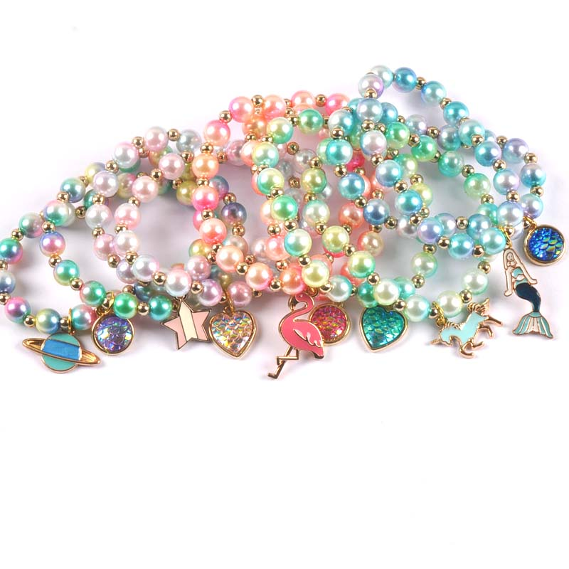 2pcs Fashion Child Kids Beads Bracelets Bangles With Charming Mermaid/Bees/flamingos Pendants Beaded Bracelet Bangles cp2685