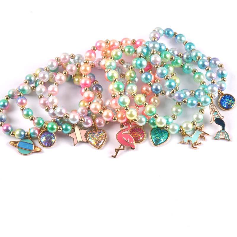 2pcs Fashion Child Kids Beads Bracelets Bangles With Charming Mermaid/Bees/flamingos Pendants Beaded Bracelet Bangles cp2685