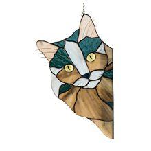 Kişiselleştirilmiş lekeli cam kedi suncatcher askı süsleri pencere dekorasyonu benzersiz kedi asılı süs anne için hediye sevgilisi