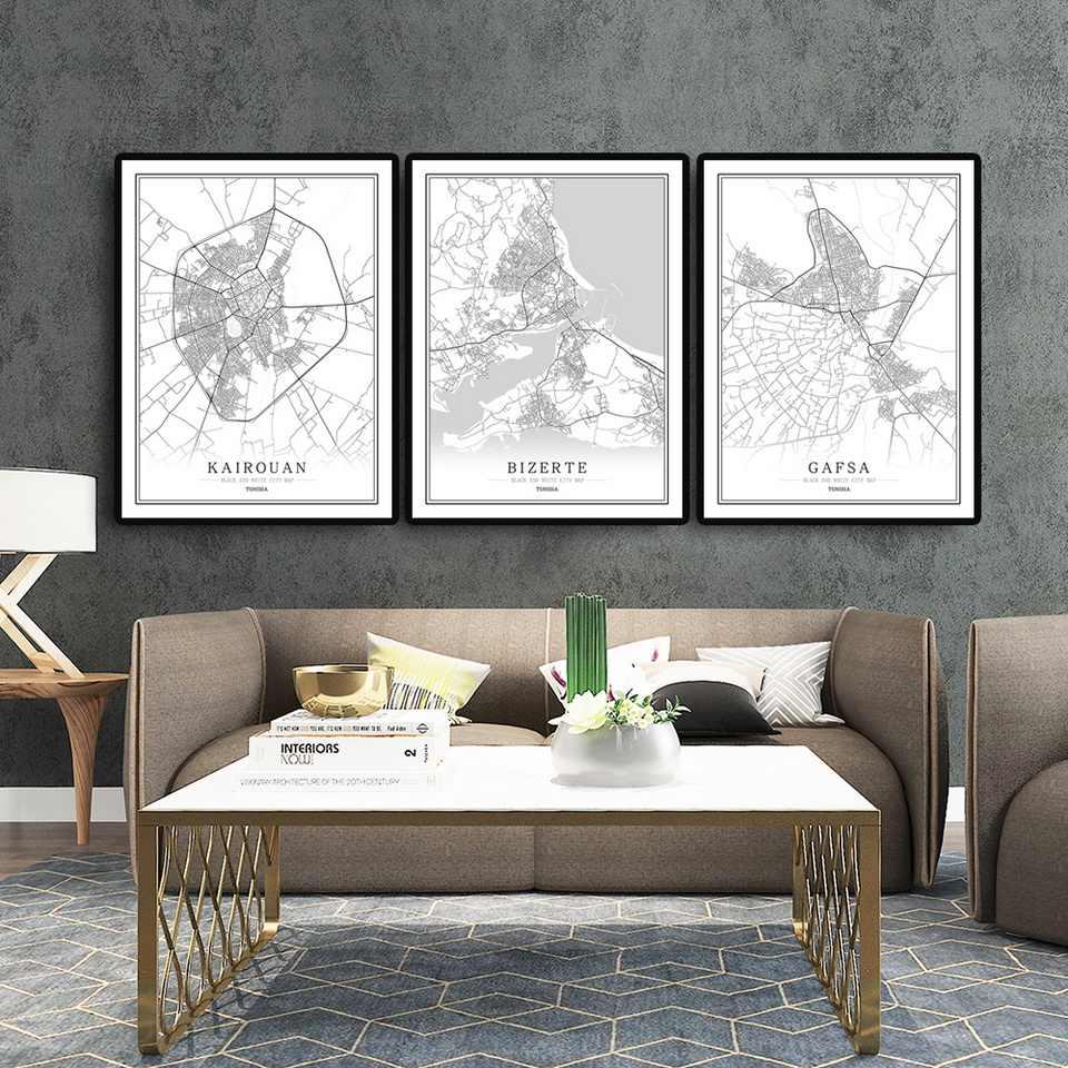 Tunisia Creativo mappa della città capitale Astratta Della Tela di canapa Dipinti in bianco e Nero di Arte Della Parete di Stampa Poster Immagine Della Decorazione Della Casa