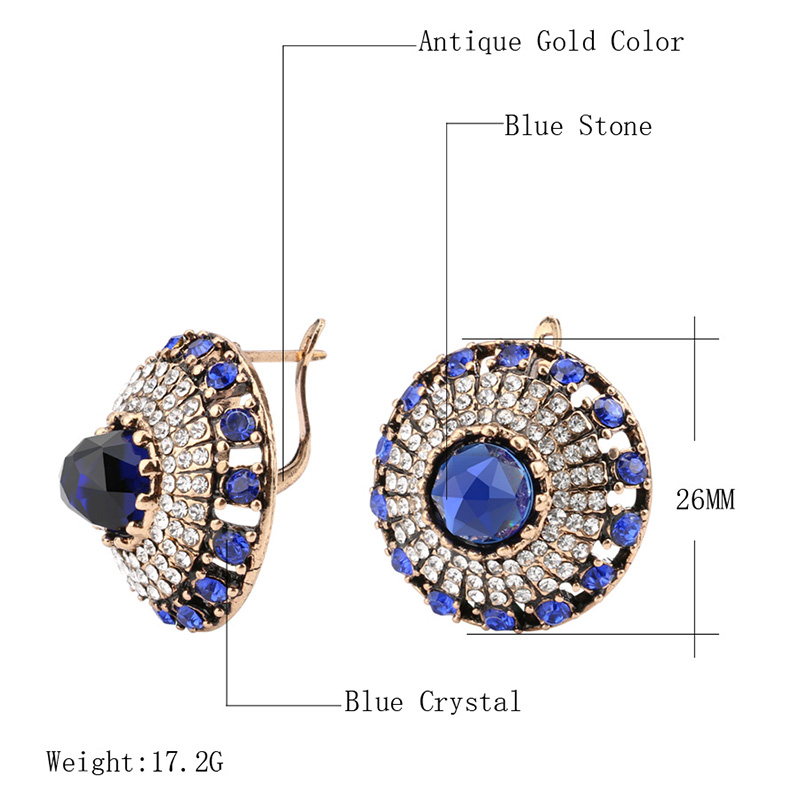 Hot 2017 Luxury Natural Stone Earring Vintage Crystal Antique Earrings For Women Gold Color Party Christmas Gift Turkish Jewelry