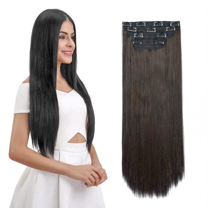 Extensões de Cabelo Longo em Linha Sintética para Mulher Clip-in Reta Natural Fake Hairpieces Preto Marrom Alta Temperatura 26 30 1 1pc 5