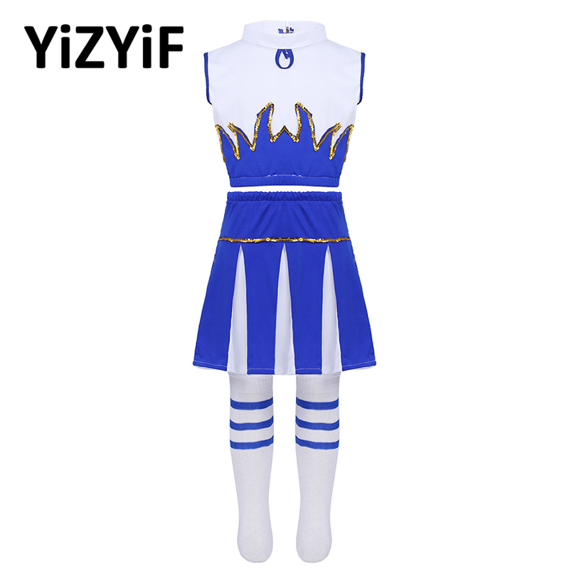 Kids Girls Cheerleader Costume Rave Outfit Sleeveless Crop Top With Skirt And Socks Jazz Dance Costume Teens Girls Dancewear