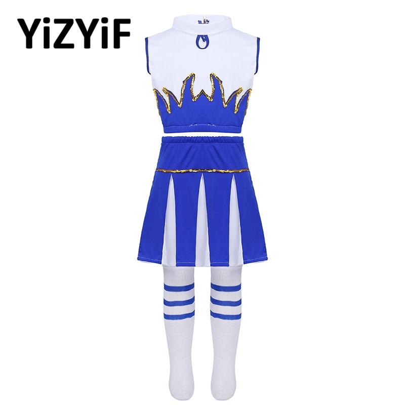 Kids Girls Cheerleader Costume Rave Outfit Sleeveless Crop Top With Skirt And Socks Jazz Dance Costume Teens Girls Dancewear
