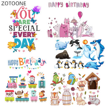 ZOTOONE Iron on Letter Patches for Kids Cartoon Animal Stickers for Clothing DIY Washable Patch Heat Transfers Bag Appliqued H image