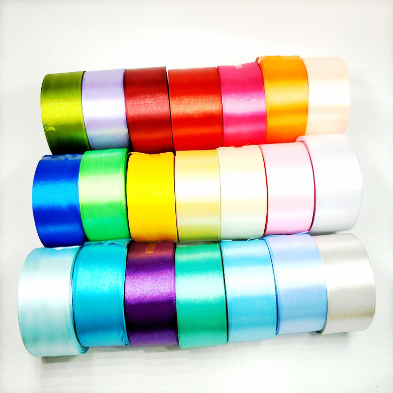HL 5 meters 15/20/25/40/50mm  Solid Color Satin Ribbons Wedding Decorative Gift Box Wrapping Belt DIY Crafts 2