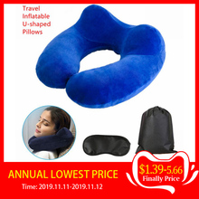 Inflatable U shaped Pillows Travel Outdoor Portable Pillow Neckrest Travel Folding Slow Rebound Train Plane Office Travel