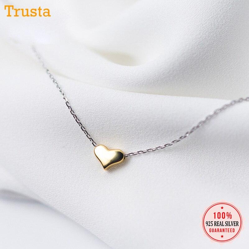 Trustdavis 100% 925 Real Sólido Esterlina Jóias de Prata Pingente de Coração de Ouro 40 centímetros Curto Clavícula Colar Bonito do Presente da Menina Da Senhora DA157
