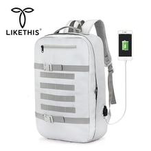 LIKETHIS Men Backpack Multifunctional Camouflage Shoulder Crossbody Bags Waterproof 15.6 Inch Laptop Bag Man USB Charging Travel