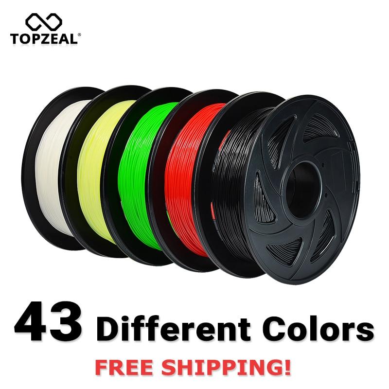 Precisão dimensional do filamento do pla da impressora de topzeal 3d 1.75mm +/-0.02mm 1 kg 343 m 2.2lbs 3d material de impressão para reprap