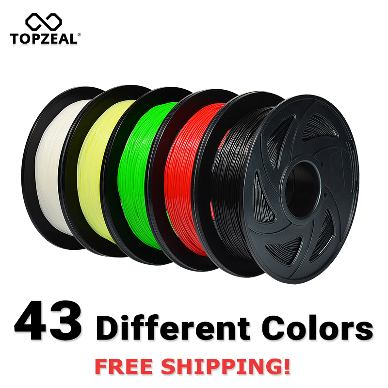 TOPZEAL 3D מדפסת PLA נימה 1.75mm נימה ממדי דיוק +/-0.02mm 1KG 343M 2.2LBS 3D הדפסת חומר עבור RepRap