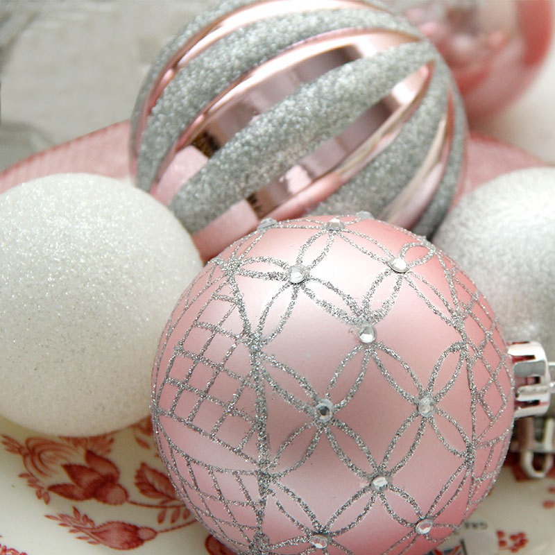 4pcs Glittering Decorative Hanging Christmas Ball Ornaments Christmas Baubles Xmas Tree Pendants Holiday Party Decorations