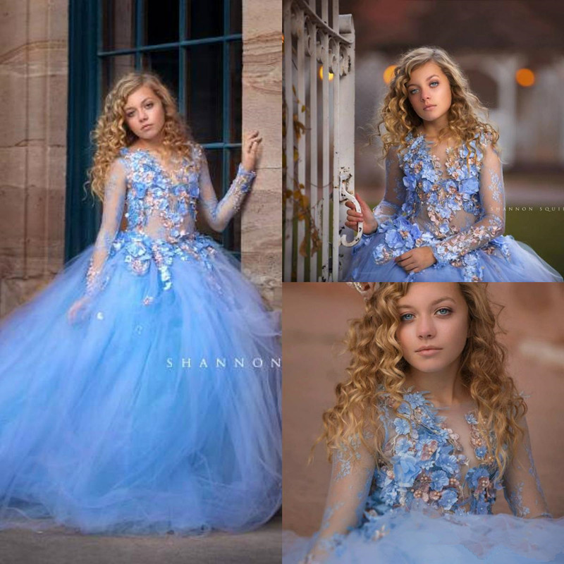 Sky Blue Long Sleeve Flower Girls Dresses With 3D Floral 2020 Lace Beaded Little Princess Wedding Party Pageant Birthday Gown