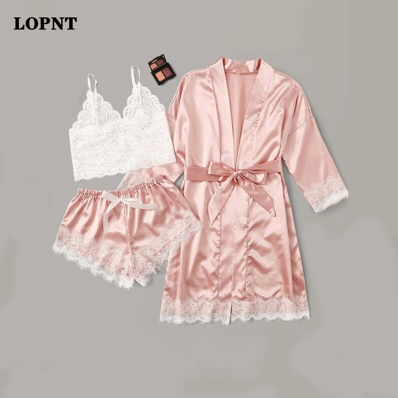LOPNT Women's Lingerie Robe Set Sexy Pajamas Set Satin Sleepwear Silk 3 Pieces Nightwear Ladies's Pajamas Set Floral Night Suit