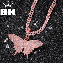 HIP HOP Custom Pink Butterfly Pendant Necklace Combination Words Name With Big Clasp Chain Full Iced Cubic Zirconia Jewelry(China)