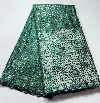 Green Color Nigerian Lace High Target Fabrics Newest Embroidery Luxury French Tulle Lace With Many Sequin/Bead For Wedding Dress