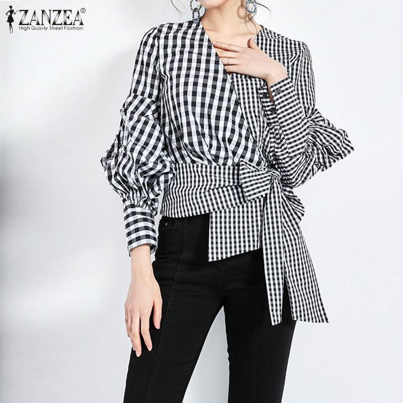Fashion Women Plaid Checked Blouse ZANZEA Spring V Neck Long Sleeve Bow Tie Shirt Elegant Ladies OL Blusas Femme Patchwork Top