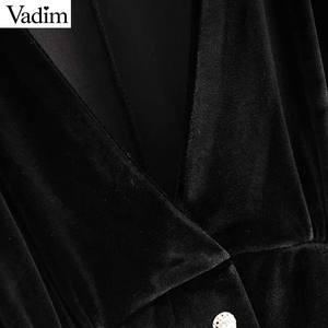 Image 5 - Vadim Nữ Thanh Lịch Nhung Mini Cổ V Tay Lửng Nút Một Dòng Đảng Câu Lạc Bộ Mặc Nữ Casual Áo Vestidos QD058