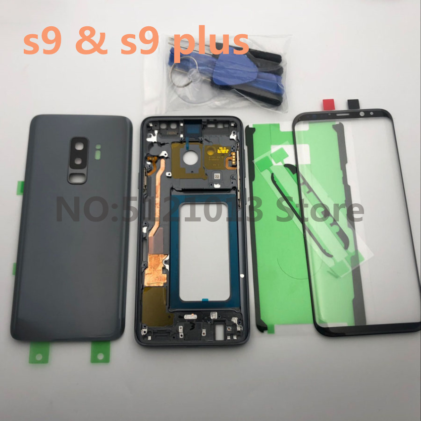 S9 Original Full Housing Case <font><b>Back</b></font> Cover + LCD Front Screen Glass Lens + Middle Frame For Samsung Galaxy s9 <font><b>G960</b></font> S9+Plus G965 image