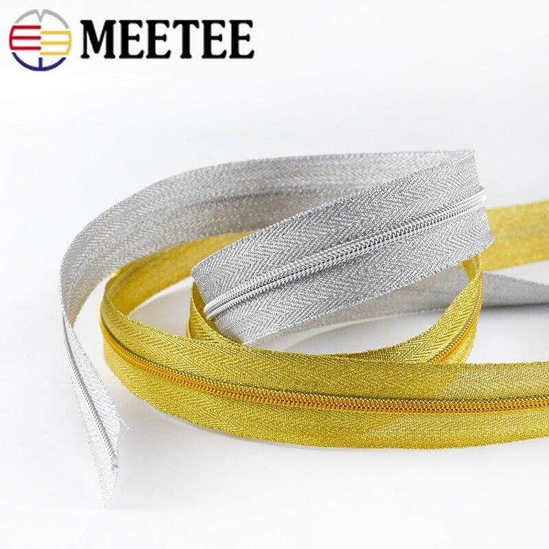 Meetee 2/5M 3# 5# Nylon Zippers for Handbag Luggage Outdoor Tent Open-end Zipper DIY Clothing Bags Repair Zip Sewing Accessories