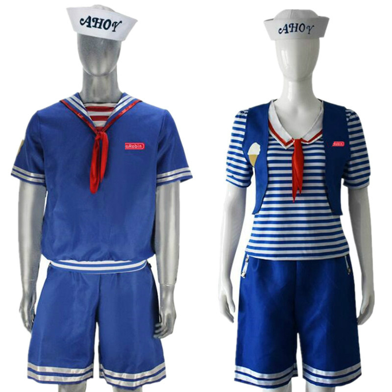 5 2019 Best Seller  Drop Shipipng Stranger Things Season 3 Robin Steve Harrington Scoops Ahoy Cosplay Costume Sailor Uniform