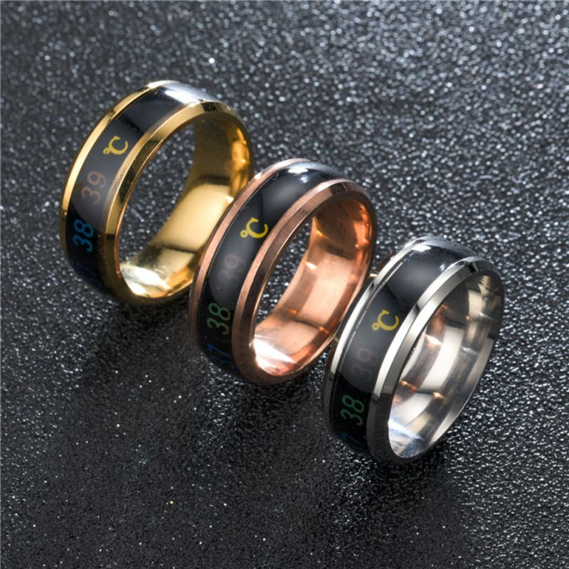 Waterproof Temperature Sense Ring Intelligent Changing Color Smart Finger Ring