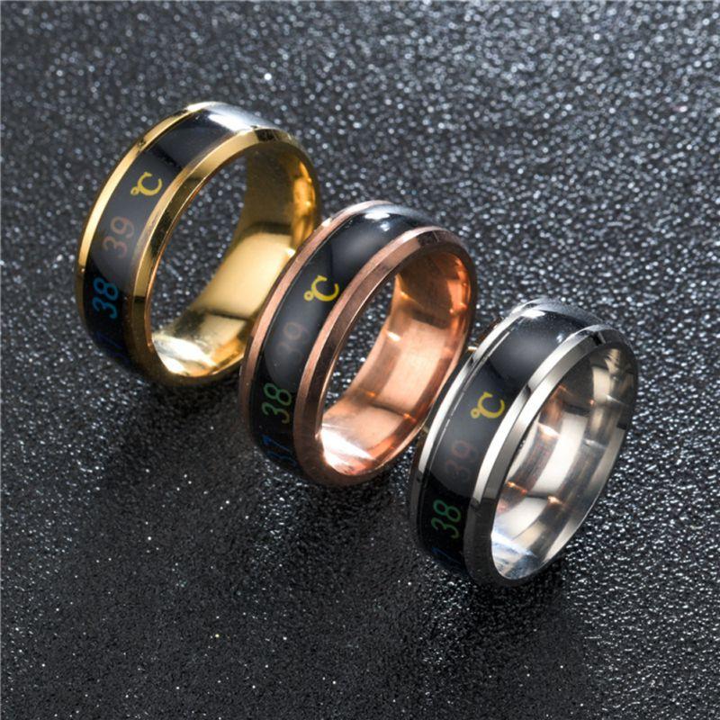 Waterproof Temperature Sense Ring Intelligent Changing Color Smart Finger Ring