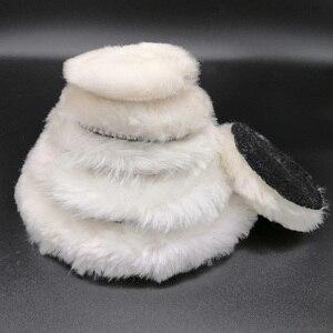 Image 3 - 100% Lambs Wool Polishing Pad สำหรับ Polisher รถรายละเอียดเสร็จสิ้นกระจกขัด3/4/5/6/7นิ้ว