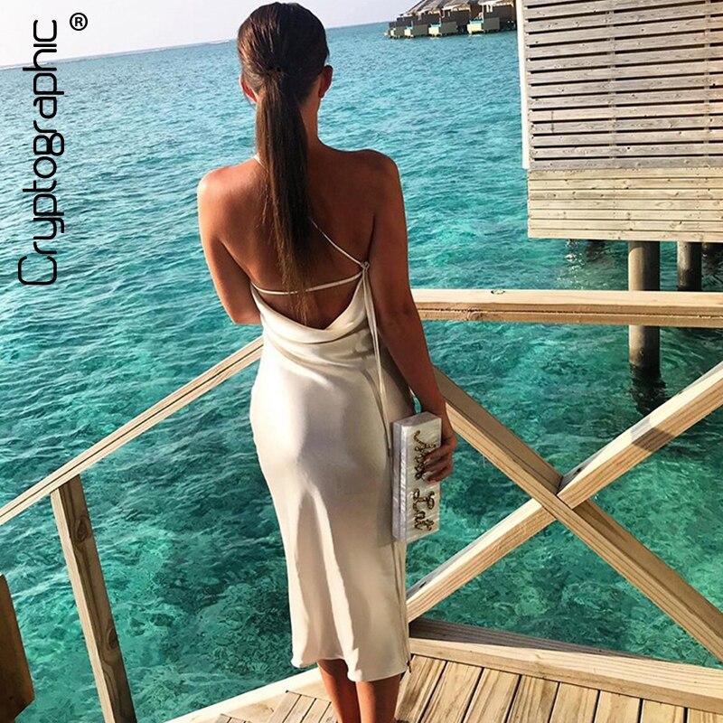 Шифрования на тонких бретелях Белый сатин миди платья повязки сексуальный спинки вечерние Клубные элегантное платье Открытое платье без рукавов праздничное платье|Платья|   | АлиЭкспресс