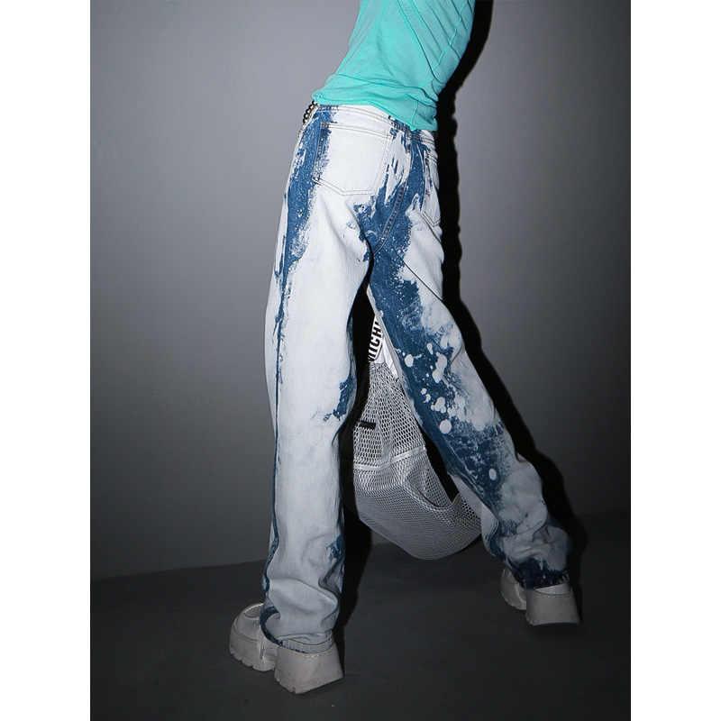 Женские джинсы с высокой талией EAM, Длинные свободные брюки контраста синего цвета с высокой талией на весну-осень 2020 1S204