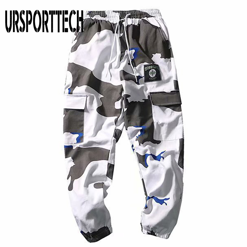 URSPORTTECH Men Joggers Pants Military Camouflage Cargo Pants Men Fashion Casual High Street Pants Cargo Trousers With Pockets
