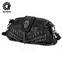 2019 Luxury Handbags Women Bags Designer Punk Style Black Leager Shoulder Bag With Skull Head Decoration For Travel