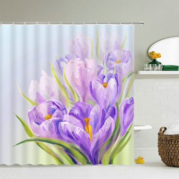 Waterproof Fabric Flowers Shower Curtains Bathroom Large 240X180 3D Printed Decoration Shower Curtain With Hooks Bath Screen image