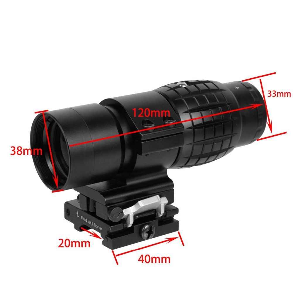 Taktis Red Dot Sight Lingkup 3X Kaca Pembesar Kompak Terlihat dengan Sandal Gunung Side Picatinny Airsoft Berburu