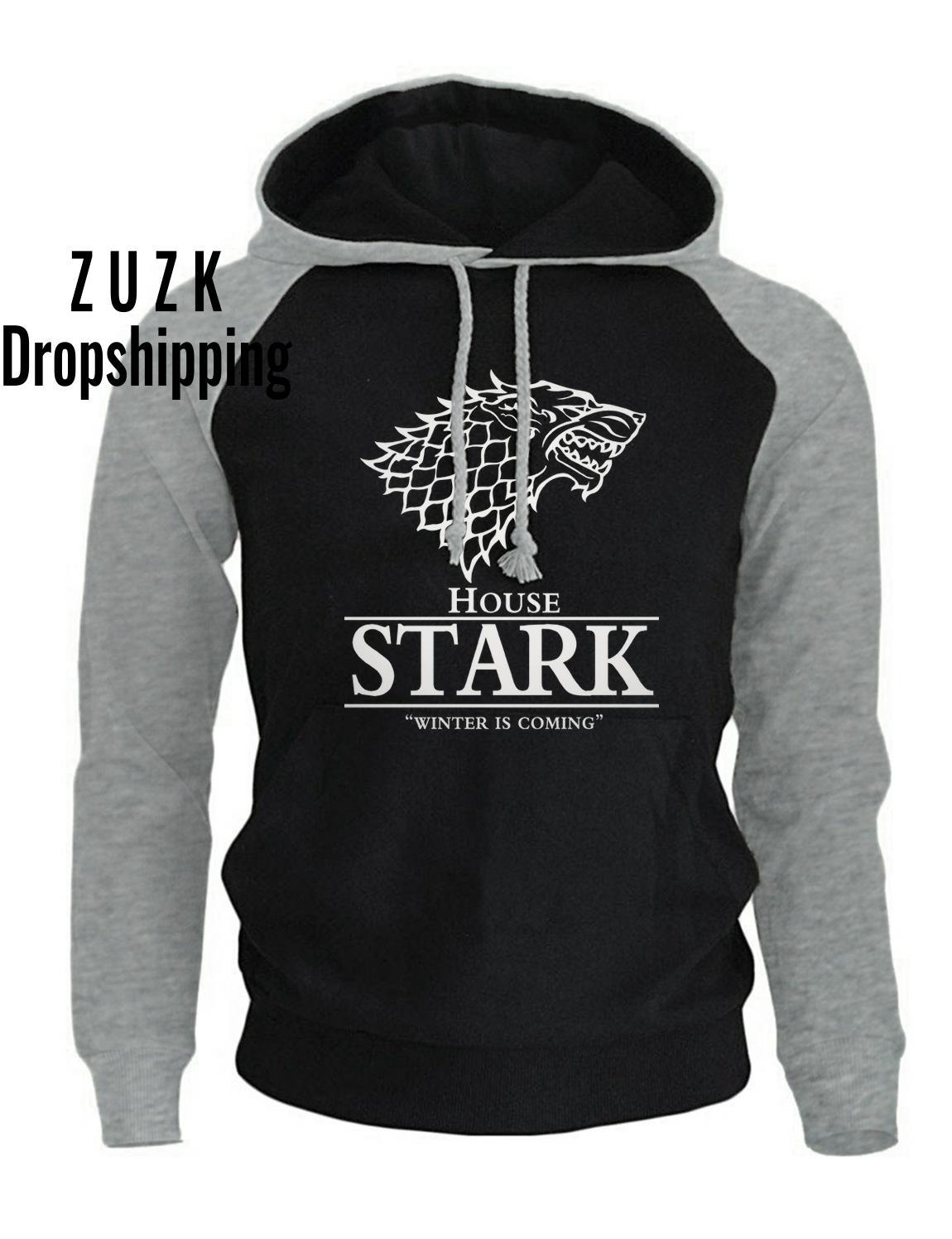 Raglan Hoodies For Men House Stark The Song Of Ice And Fire Winter Is Coming Men's Sportswear Game Of Thrones Sweatshirt
