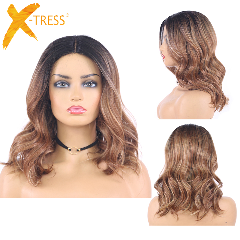 Ombre Brown Colored Synthetic Lace Wigs For Black Women Natural Wave Short Bob Wig Shoulder Length Orange Gray Hair Wigs X-TRESS