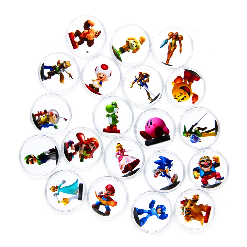 20pcs/Set Mario Kart 8 Deluxe Circular Coin Game Card For Amiibo NS Switch WiiU Collection Ntag215 NFC Printed Sticker Tag