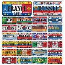 País sinal de metal estanho cartaz rússia frança polónia países baixos placas de ferro decorações de parede para casa bar loja parede artesanato decoração