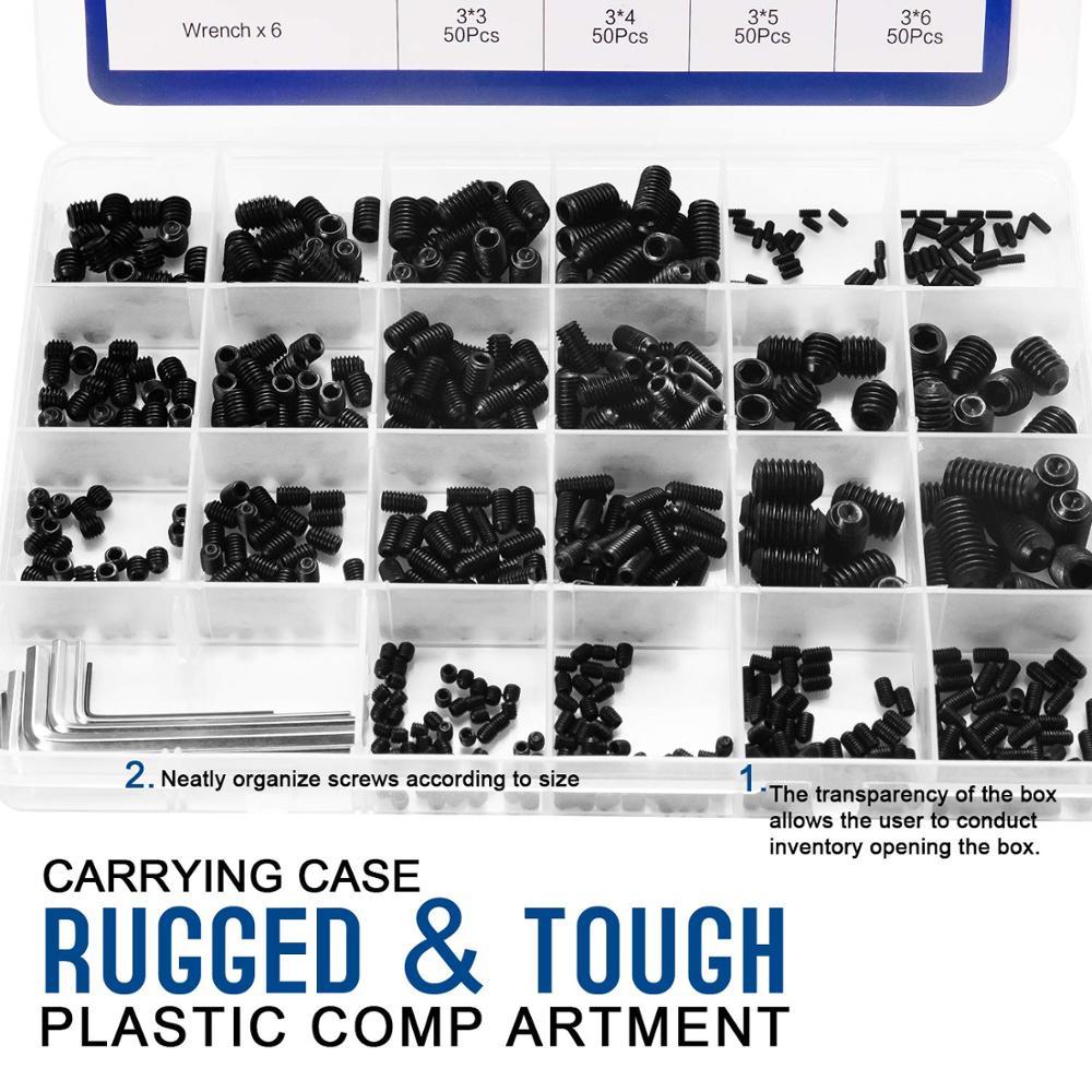 Image 2 - 666pcs Set Screw Cup Point Grub Screw M2 M3 M4 M5 M6 M8 Hex Socket Set Screws Hexagon Headless Set Screw Grade 12.9 Carbon Steel-in Screws from Home Improvement