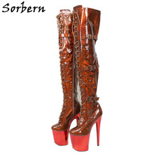 Sorbern Holo Metallic Snake Pole Dans Laarzen Rode Schilderen Exotic Dancer Stripper Hakken Platform Schoenen Animal Skin Vrouw Schoenen(China)
