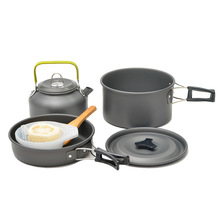 Outdoor portable 2-3 person camping stovetop cooker picnic cookware non-stick pot teapot combination set with tableware