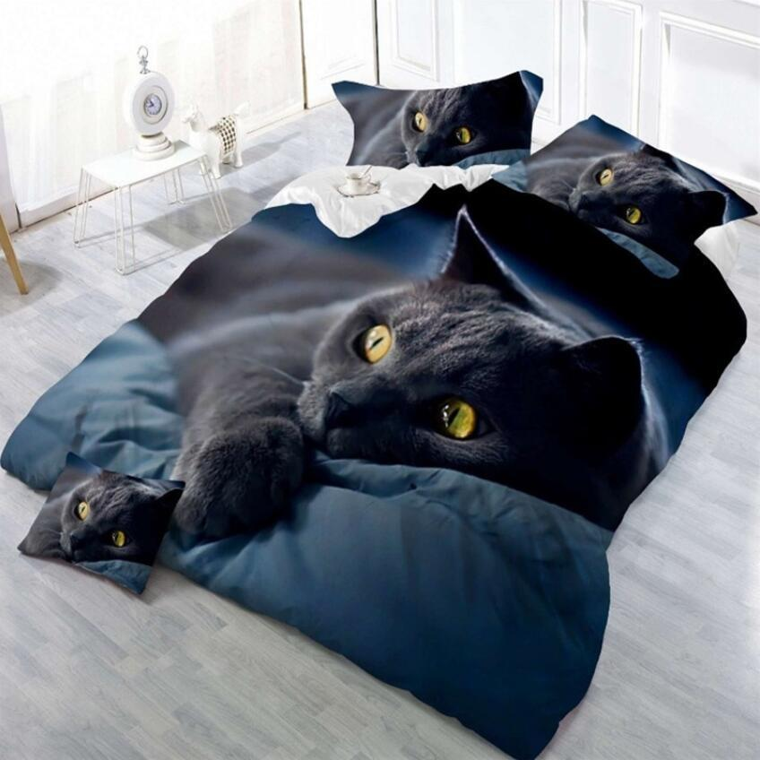 Amazon Cross Border Hot Selling 3D Black Cat Sheet Quilt Cover Pillow Case Four-piece Set Bedding Article Textile A Generation O