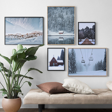 Fog Snow Mountain Lake Pine Forest Wall Art Canvas Painting Nordic Posters And Prints Pictures Living Room Christmas Gifts