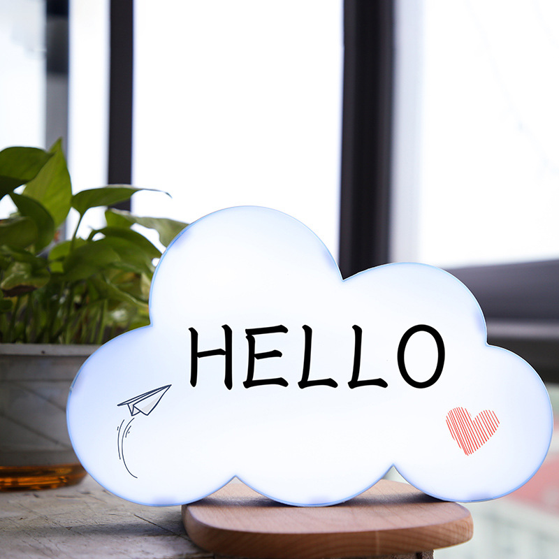 LED Drawing Writing Board Light USB Battery Cloud Shape Novelty Lamp With 3 Stylus Pens For Party Wedding Xmas Home Decorations